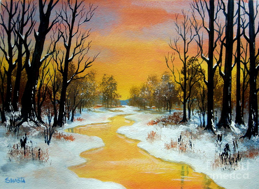 Landscape Painting - Winter  Solstice by Shasta Eone