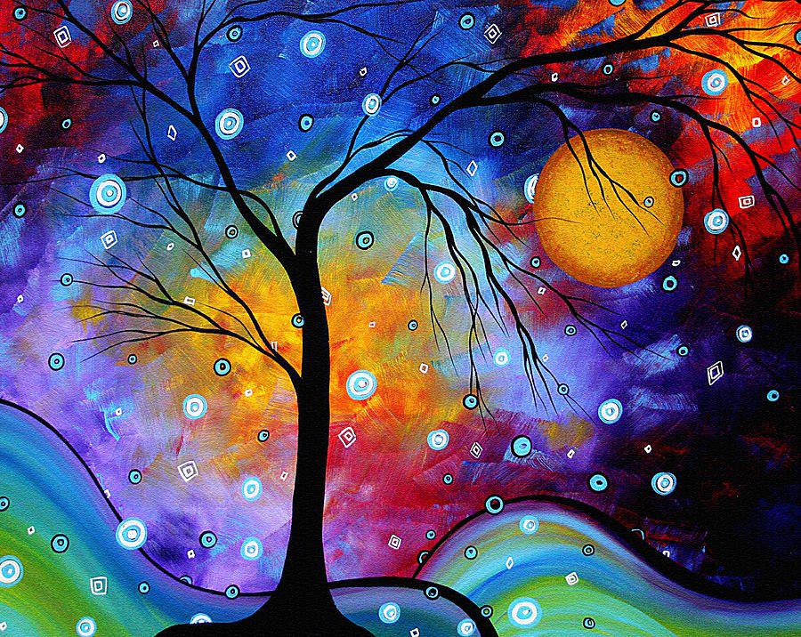 Abstract Painting - WINTER SPARKLE Original MADART Painting by Megan Duncanson