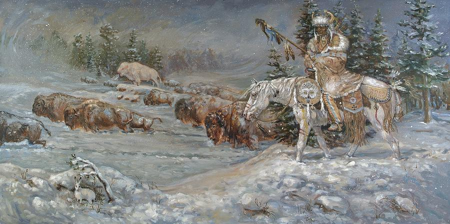 Snow Painting - Winter Spirits by Kerry Nelson