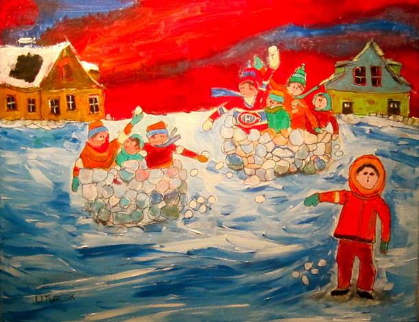 Children Painting - Winter Sport by Michael Litvack