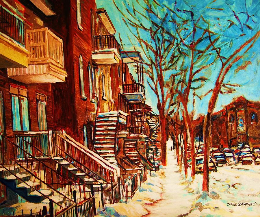 Verdun Paintings By Montreal Street Scene Artist Carole Spandau Painting - Winter Staircase by Carole Spandau