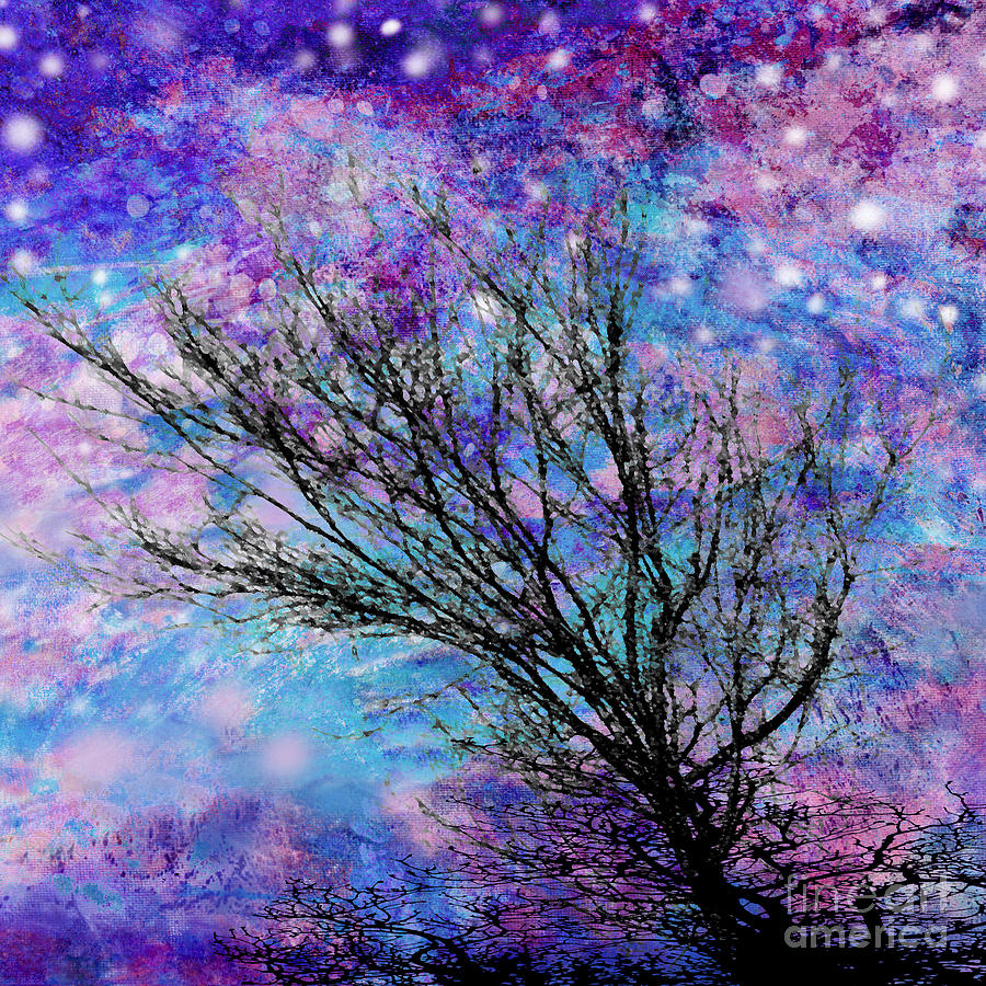 Starry Digital Art - Winter Starry Night Square by Ann Powell