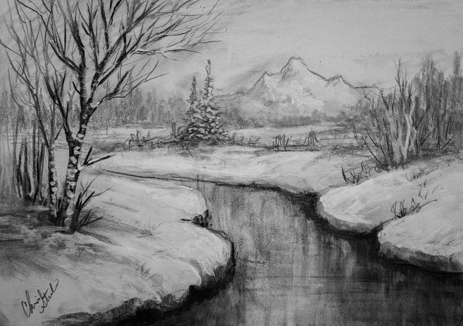 Charcoal Drawing - Winter Stillness by C Steele