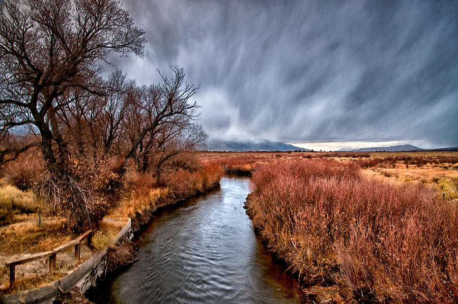 River Photograph - Winter Storm Over Owens River by Cat Connor