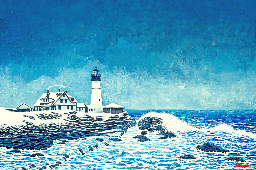 Lighthouses Painting - Winter Storm Watch by David Linton
