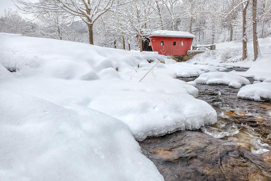 Covered Bridge Photograph - Winter Stream by Bill Wakeley