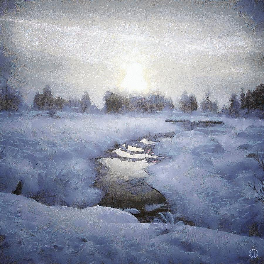 Landscape Digital Art - Winter Stream by Gun Legler