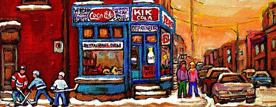 Corner Stores Painting - Winter Stroll Beautiful Sunny Day Montreal Street Scene  - Verdun Depanneur Hockey City Scene  by Carole Spandau
