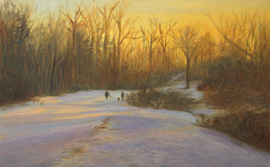Winter Painting - Winter Stroll by Phyllis Tarlow