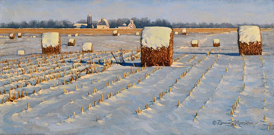 Landscape Painting - Winter Stubble Bales by Bruce Morrison