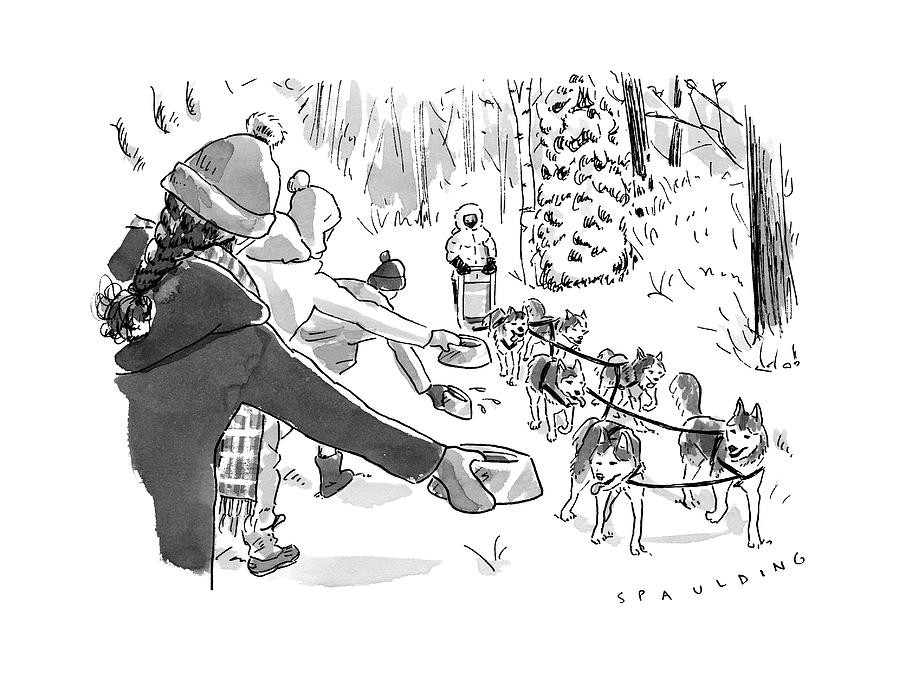 Winter Suited Volunteers Hold Out Dog Dishes Drawing by Trevor Spaulding