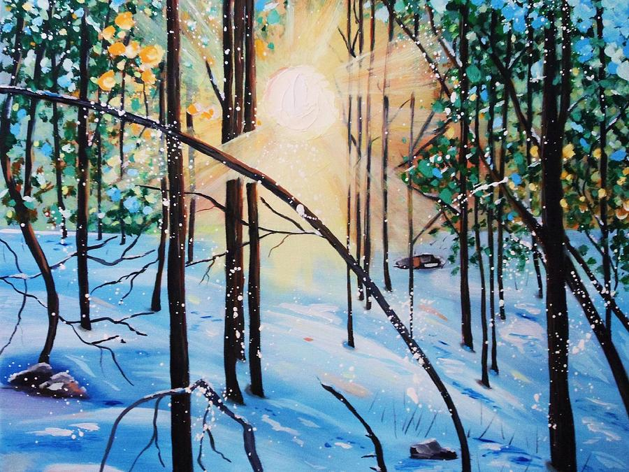 Snow Painting - Winter Sun by Nancy Milano