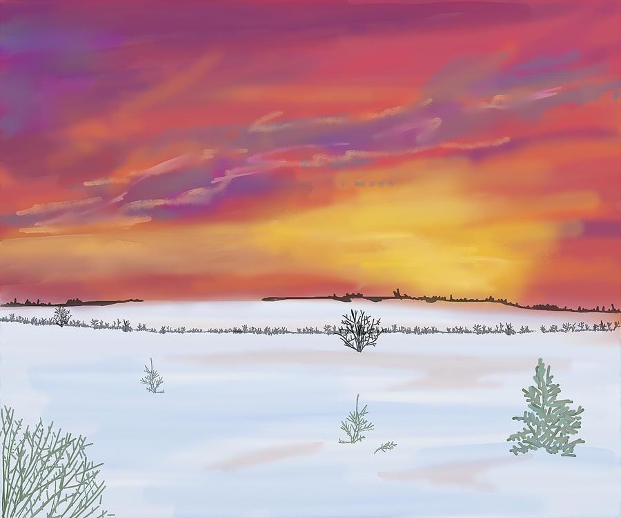 Snow Painting - Winter Sundown by Mellisa Ward