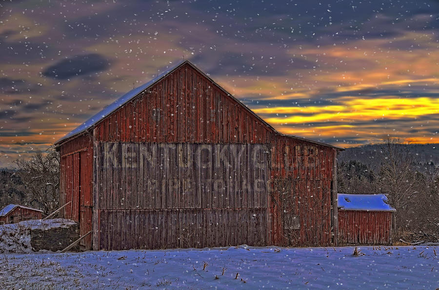 Sun Photograph - Winter Sunrise Over Dorothys Barn. by Dave Sandt