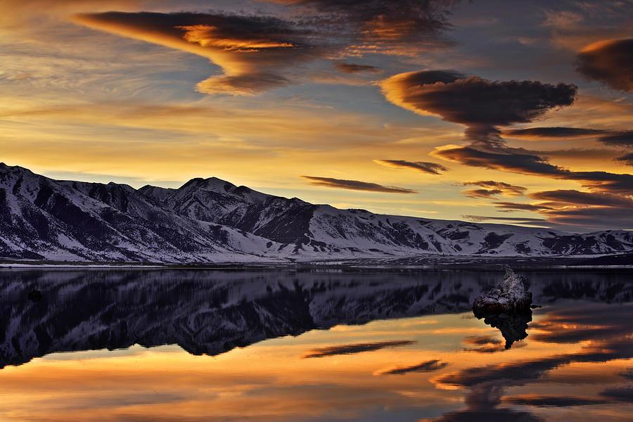Landscape Photograph - Winter Sunset at Mono Lake by David Orias
