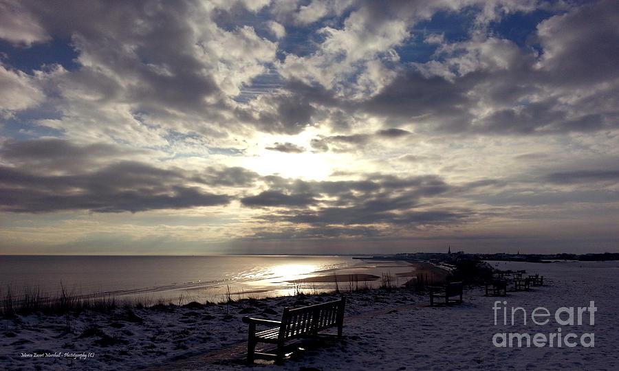 Bridlington Photograph - Winter Sunset Beach And Bench by Merice Ewart