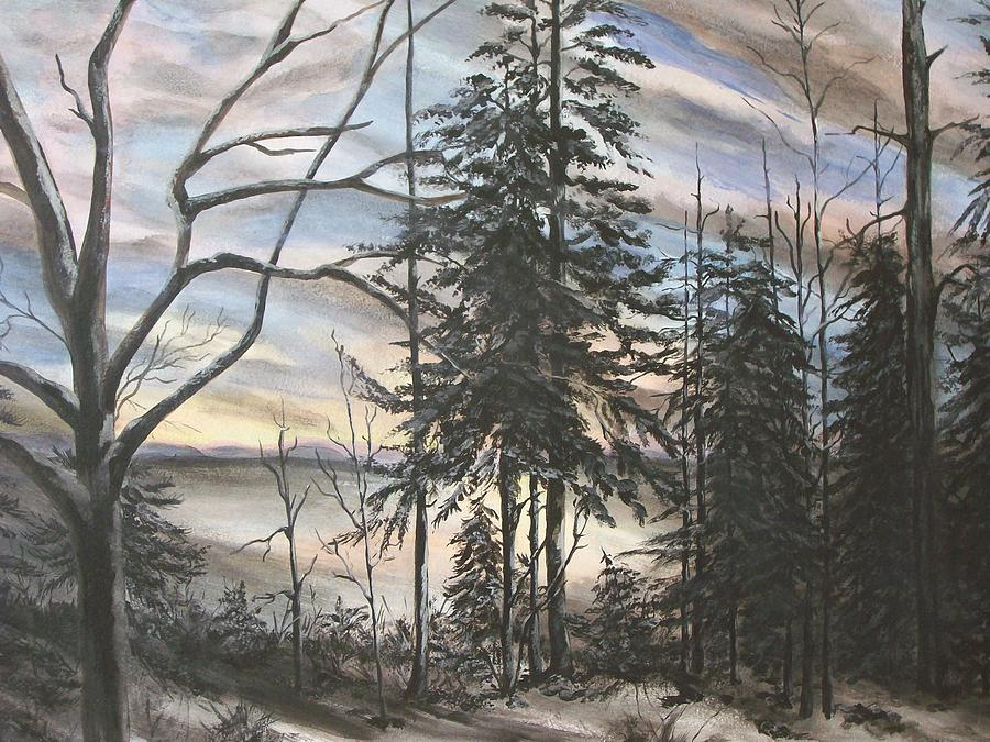 Winter Sunset Painting by Bev  Neely