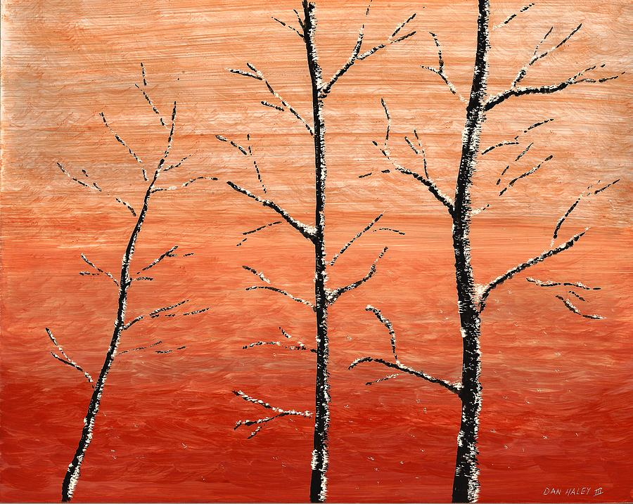 Clayboard Painting - Winter Sunset by Dan Haley