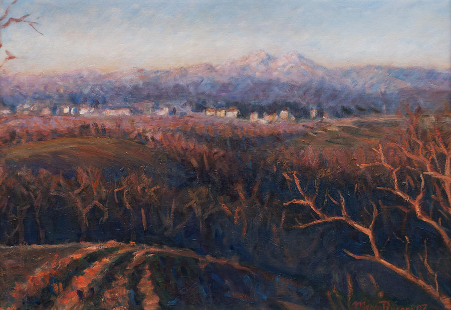 Sunset Painting - Winter Sunset In Brianza by Marco Busoni