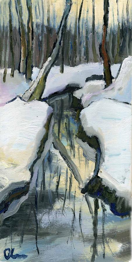 Landscape Painting - Winter Sunset by Lelia Sorokina