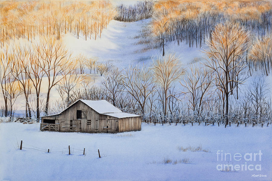 Sunset Painting - Winter Sunset by Michelle Wiarda