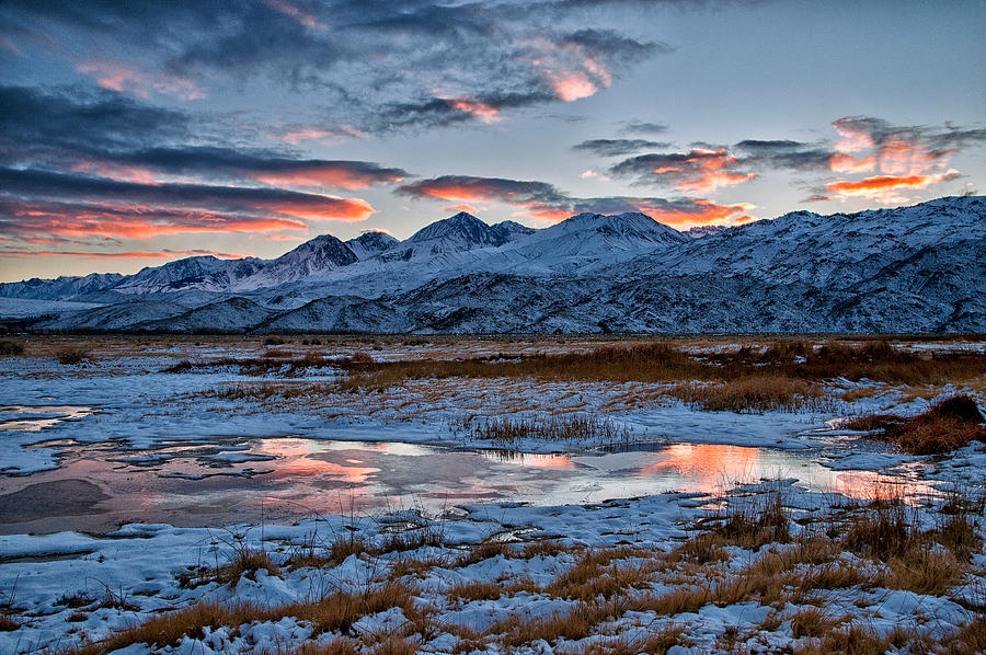 Clouds Photograph - Winter Sunset Reflection by Cat Connor