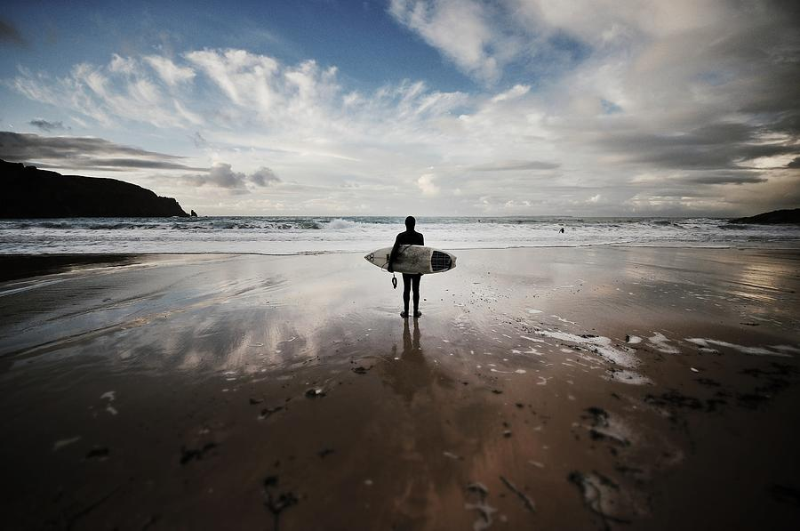 Winter Surfing At Plemont Photograph by Richard Boak