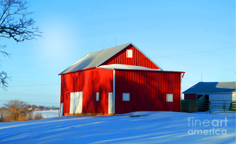 Snowy Photograph - Winter Time Barn In Snow by Luther Fine Art