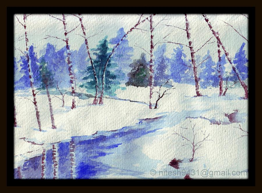 Winter Painting - Winter Touch by Nitesh Kumar