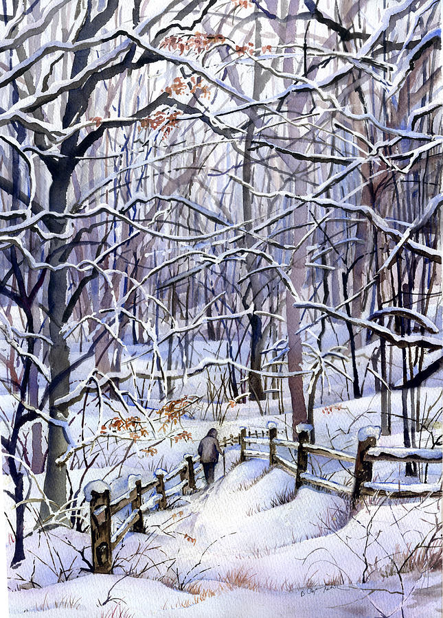 Winter Painting - Winter Trail by Beth Kantor