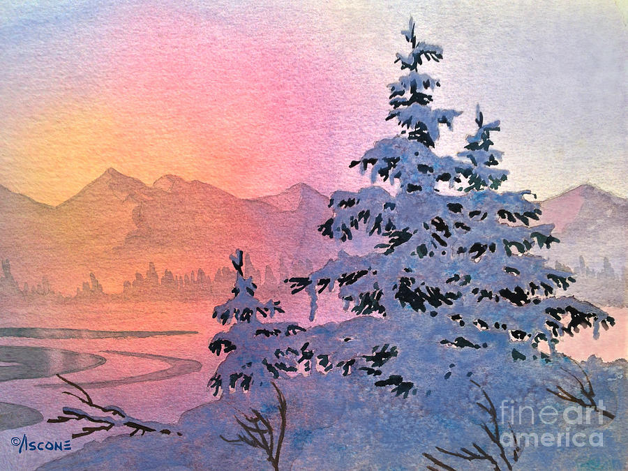 Watercolor Painting - Winter Twilight by Teresa Ascone