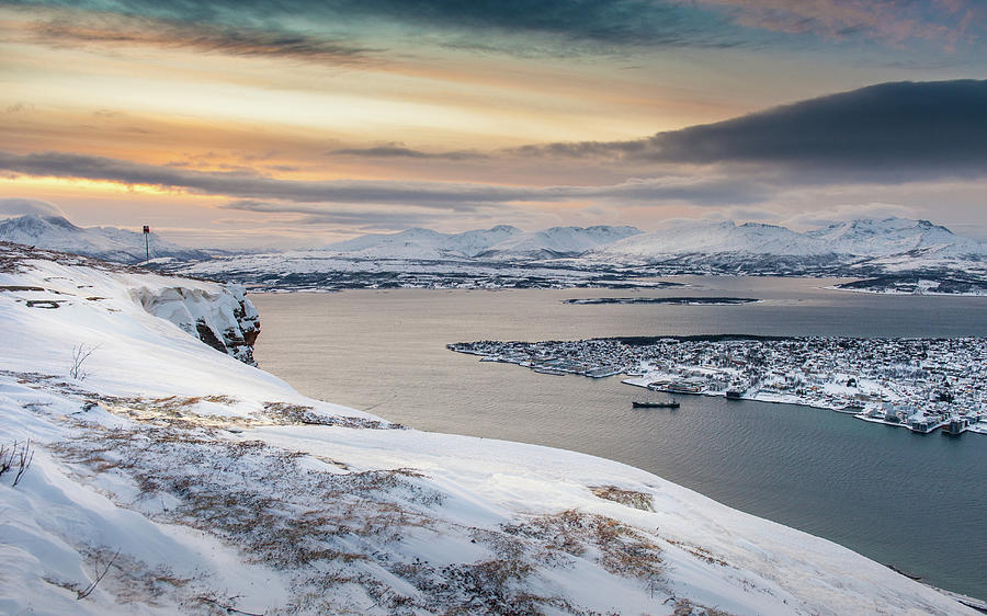 Winter View Over Tromso City Over Photograph by Coolbiere Photograph