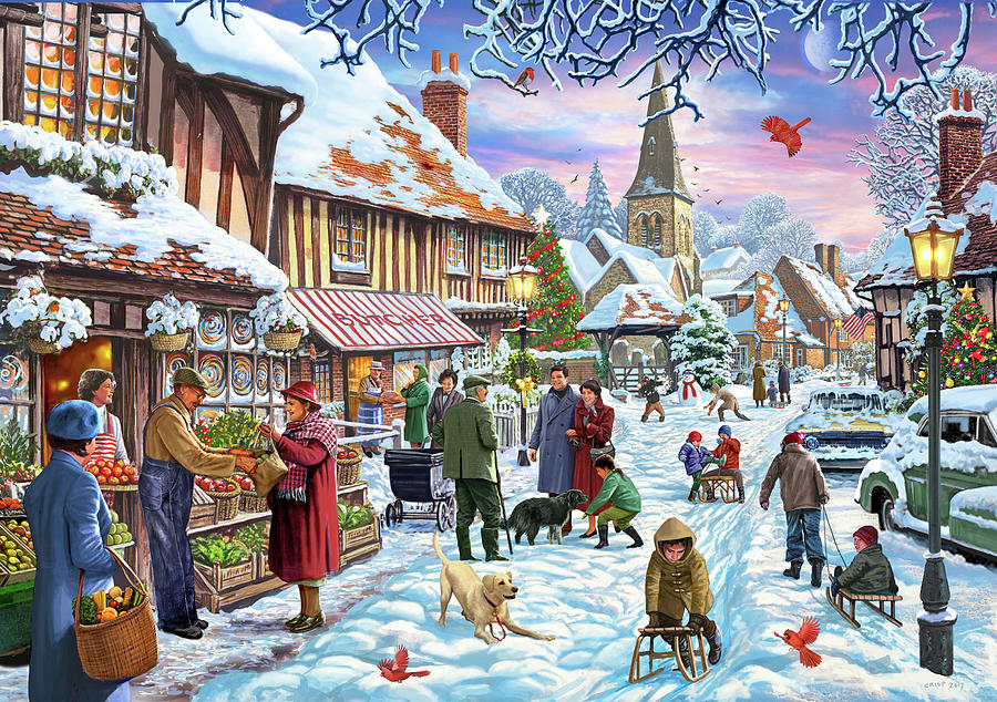 Church Painting - Winter Village Usa by MGL Meiklejohn Graphics Licensing