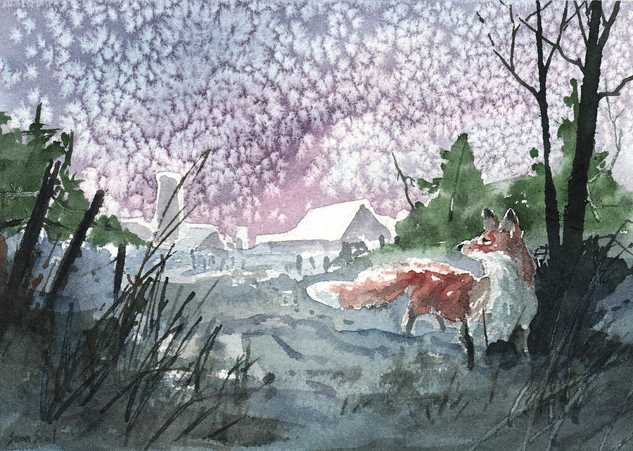 Fox Painting - Winter Visitor by Sean Seal