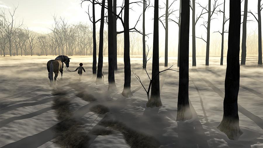Winter Digital Art - Winter Walk by Cynthia Decker