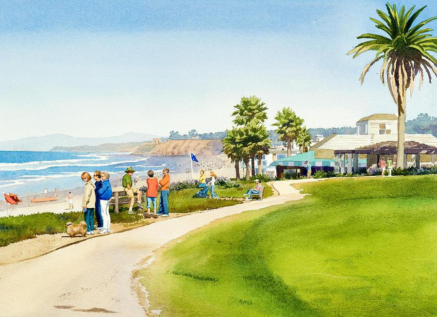 Ocean Painting - Winter Walk Del Mar by Mary Helmreich