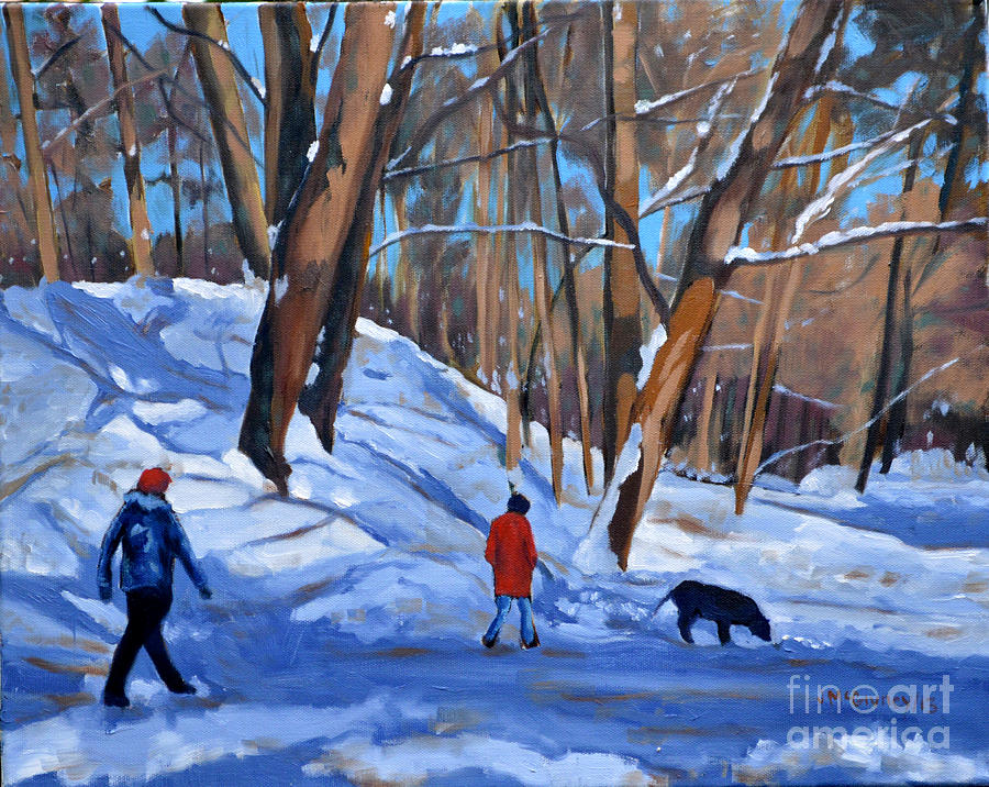 Dogs Painting - Winter Walk by Joan McGivney