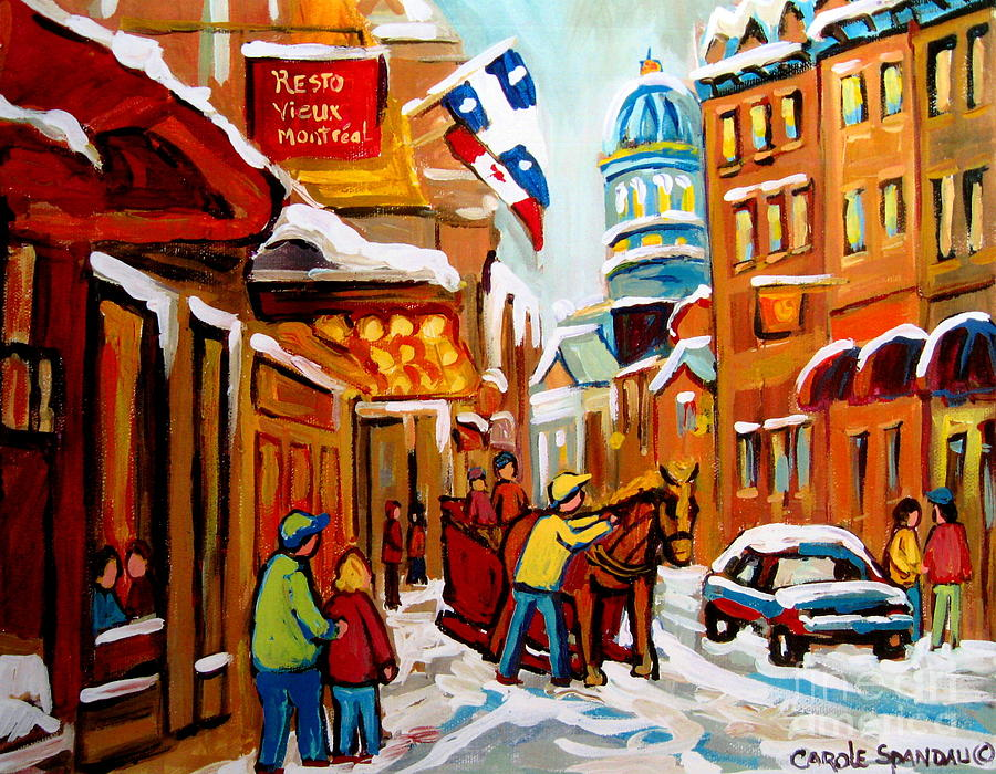 Montreal Painting - Winter Walk Montreal by Carole Spandau