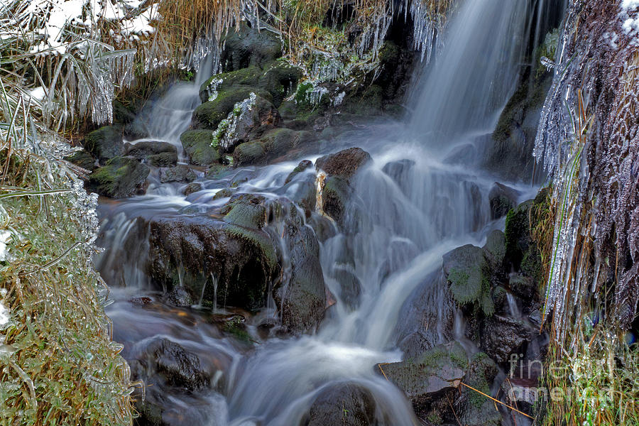 Ice Photograph - Winter Waterfall In Goyt Valley by David Birchall