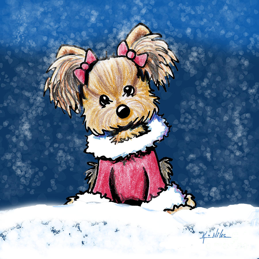 Winter Mixed Media - Winter Whimsy Yorkie Terrier by Kim Niles
