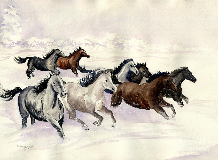 Wild Horse Painting - Winter Wishperer by Melly Terpening