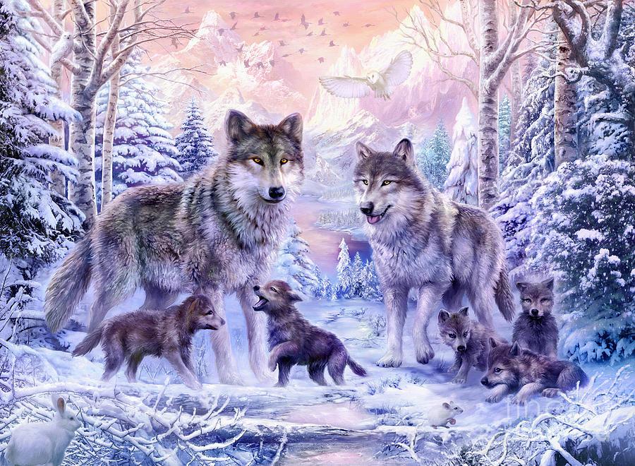 Animal Digital Art - Winter Wolf Family  by Jan Patrik Krasny