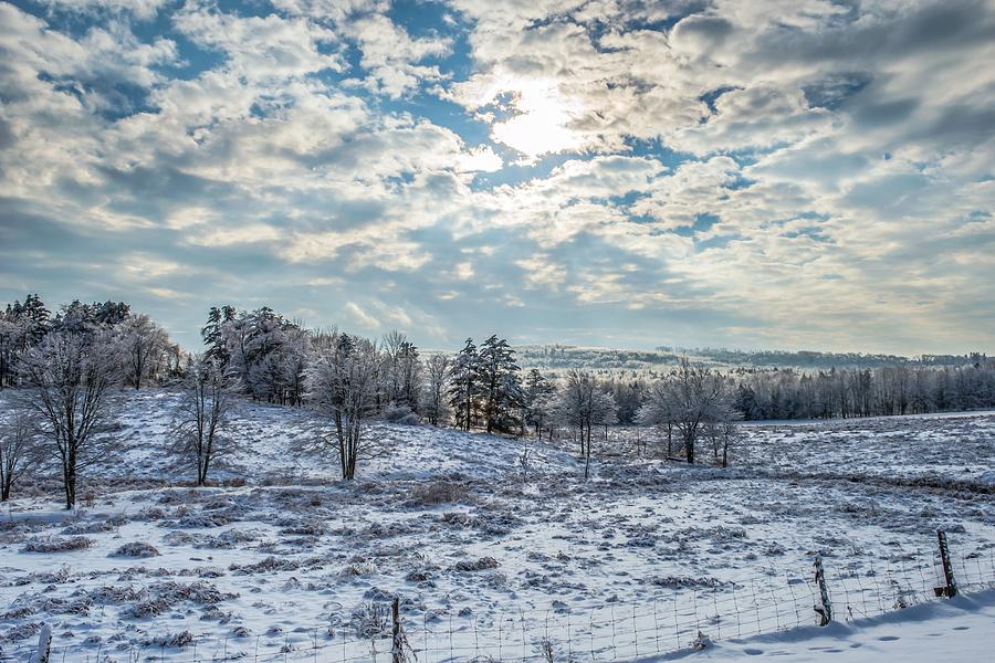 Winter Maine Washington Ice Snow Sun Clouds Photograph - Winter Wonderland by Tim Sullivan