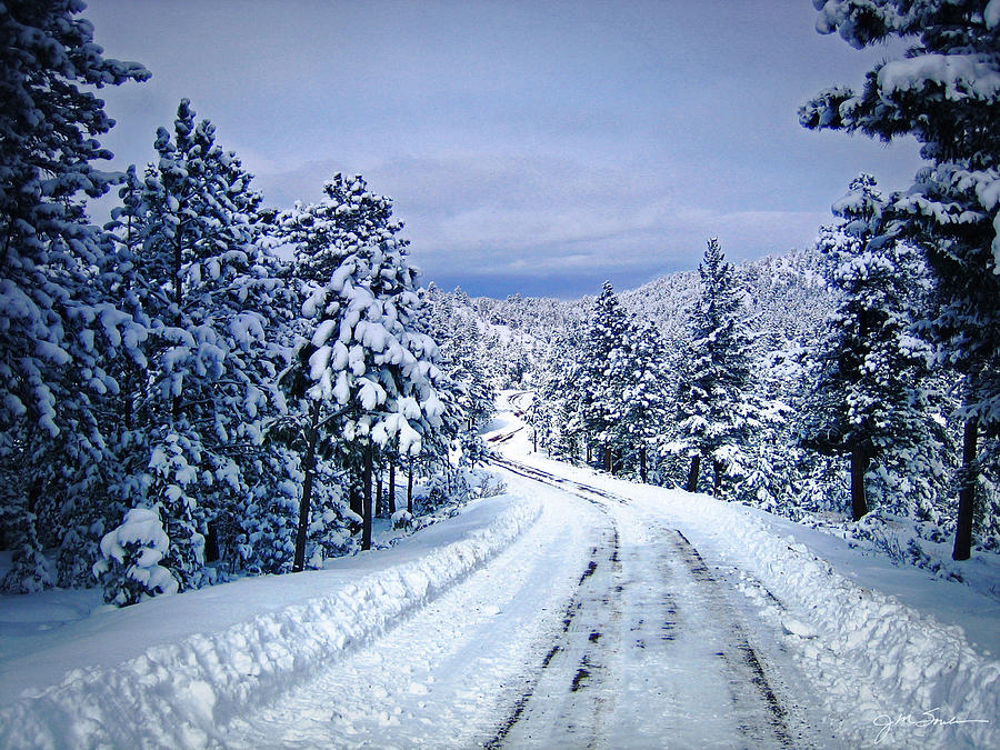 Colorado Photograph - Winter Woodland Photo -country Roads Take Me Home -mountain Landscape -nature by Julie Magers Soulen