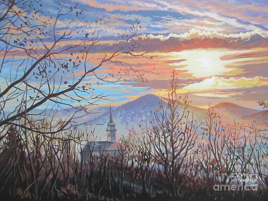 Transilvania Paintings Painting - Winters End by Andrei Attila Mezei
