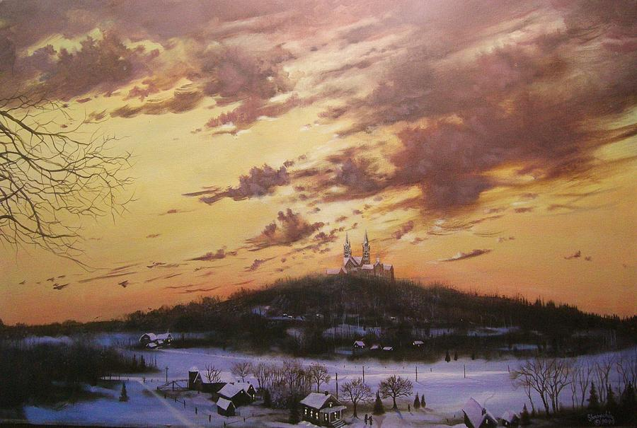 Holy Hill Painting - Winters Eve At Holy Hill by Tom Shropshire