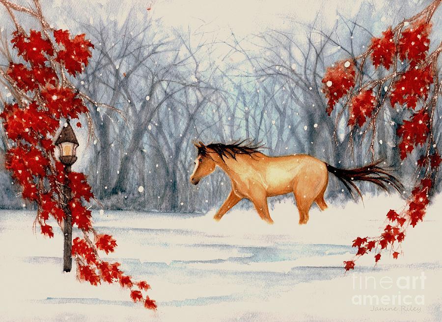 Buckskin Horse Painting - Winters Eve by Janine Riley