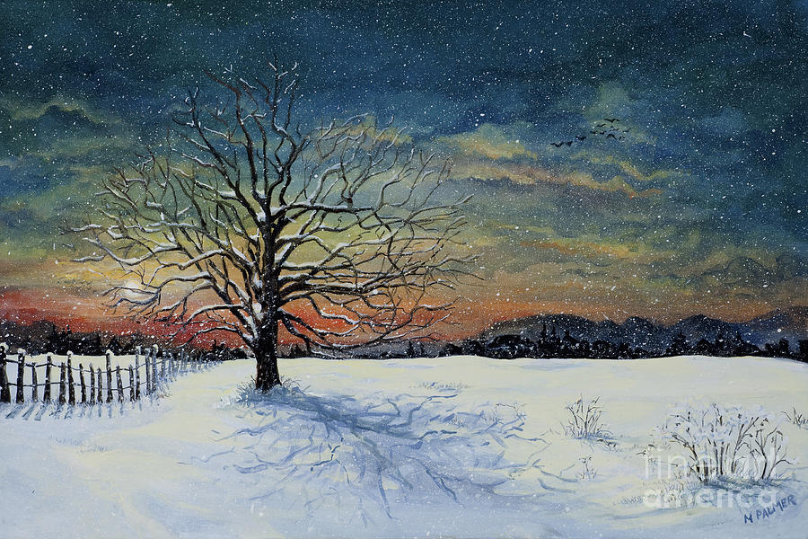 Oak Tree Painting - Winters Eve by Mary Palmer
