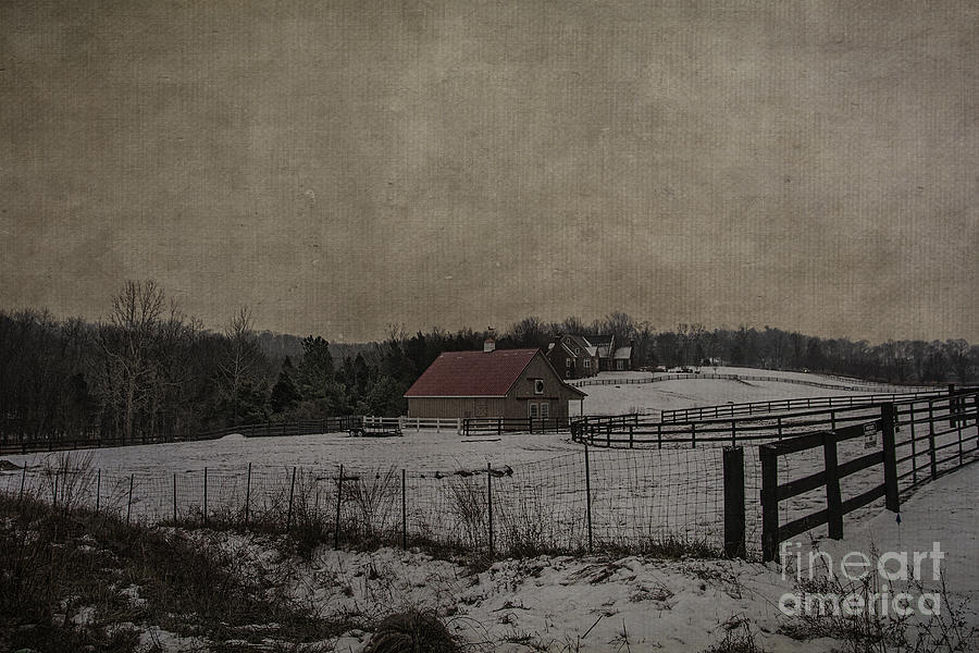 Winter Photograph - Winters Farm by Terry Rowe