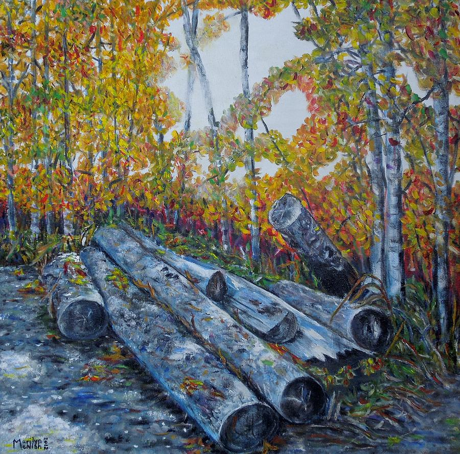 Logs Painting - Winters Firewood by Marilyn  McNish